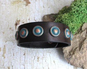 Leather Cuff Bracelet, upcycled, recycled