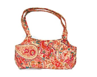 Paisley and flowers style  patterned cotton purse bag 1970s style hand embellished with beads and sequins