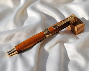 Music Rollerball Pen in 24kt Gold Serenaded by Macassar Ebony Wood