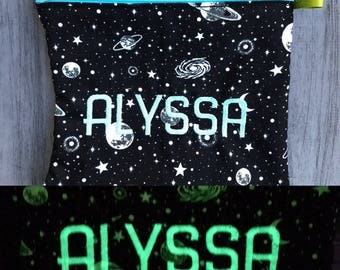 Glow in the Dark, School Lunch, Snack Bag, Reusable Sandwich Bag, Planets, Stars, Galaxy, Snack bag, party favor, washable bag, solar system