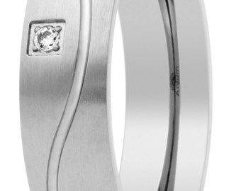 made of pure titanium with stones mate wedding ring