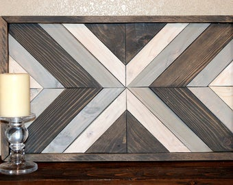 reclaimed wood- recycled wood- geometrical art- geometrical wood art- wood wall art- shades of blue