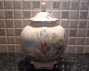 Vintage Aynsley Fine Bone China Ginger jar in Wild Tudor Design with Floral Pattern, Made in England, Kitchenware, Kitchen Decor, Tableware