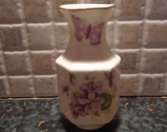 Vintage Aynsley Wild Violets Vase Fine Bone china