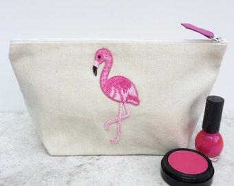 Flamingo Canvas Makeup Bag/Small Cosmetics Bag/Make up Bag for her/zip pouch/toiletry bag women/Flamingo Patch Make Up Bag/handmade