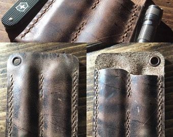 The DEANedc Slice+Light Leather EDC Pocket Organiser in Distressed Crazy Horse (Brown)