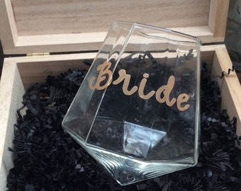 Bride to be diamond shaped glass