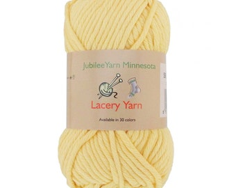 Lacery Yarn 100g - 2 Skeins - All Cotton - Light Yellow - Color 506