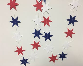 Fourth July - red, white, and blue star garland