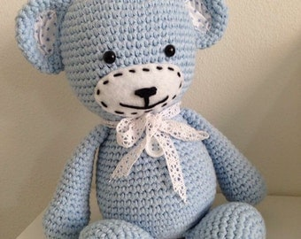 Crochet bear blue