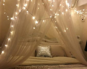 Sheer bedding canopy , sheer bed curtain, bed canopy , wedding canopy , bohemian bedroom decor, play room canopy ,