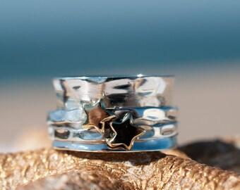 Spinner Ring ~ Star Spinning~Spin ~Meditation ~ Yoga ~Anxiety ~Anti Stress ~ Hammered ~Sterling Silver 925 ~Handmade ~Bronze ~Handmade MS011