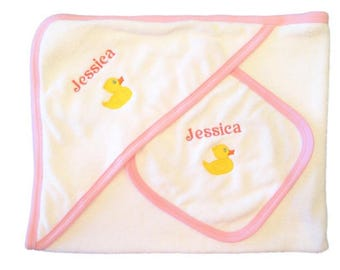 Personalised Hooded Towel & Wash Cloth