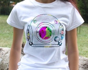 Cosmos T-shirt - Space suit Tee - Fashion women's apparel - Colorful printed tee - Gift Idea