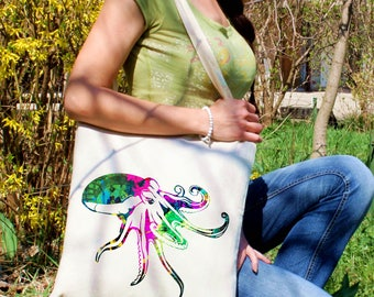 Octopus bag -  Ocean tote - Octopus shoulder bag - Fashion canvas bag - Colorful printed market bag - Gift Idea