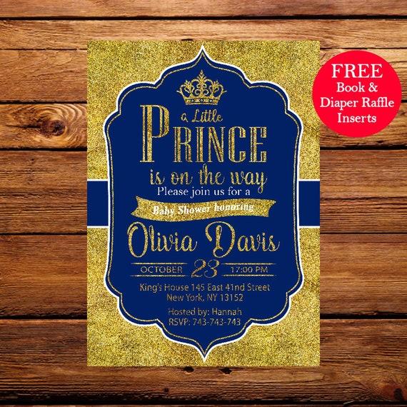 Prince Baby Shower Invitation, Royal Blue Gold Baby Shower Invitation,Crown  Gold Glitter, Little Prince,Printable Baby Shower Invitation 089