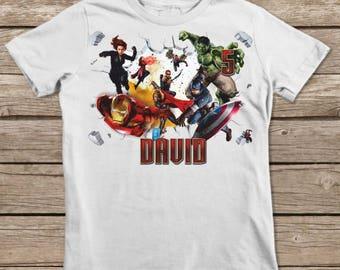 Avengers Birthday Iron On, Captain America Iron On Transfer Shirt, Printable Personalized Birthday Shirt, Name Party Decor, Digital Image