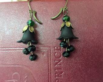 Black and green witch  earrings