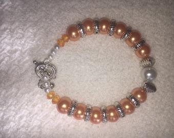 Colorful Beaded Bracelet (Orange and White Beads)