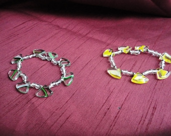 Simple Yellow or Green Lampwork Stretch Bracelet B29