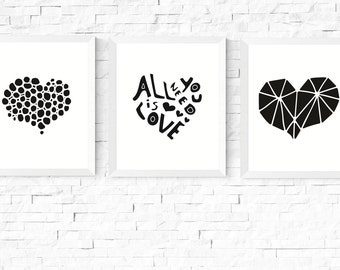 Heart Prints | Three Hearts Art Printables | Black & White | 3 Set | Modern Art | Minimalist Art | Couple Art | Hygge Prints