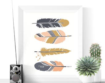 Feathers Art Printable | Boho Art | Pink, Navy & Gold | Feathers Print | Native Art | Home Decor | Wall Art Printables
