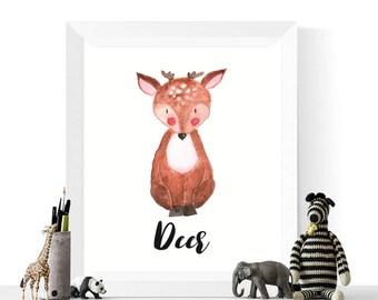 Baby Deer Printable | Baby Deer Watercolor Printable | Woodland Animals | Watercolour | Animal Print | Woodland Animal Prints