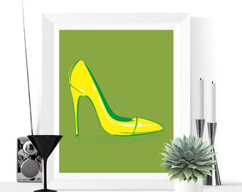 50% OFF Sale - Pop Art Shoes Art Printable | Green and Yellow | Pop Art | Fun Art | Contemporary Art | High Heeled Shoes | Art Printable