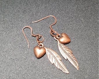 Gilded Copper Heart and Feather Dangle Earrings
