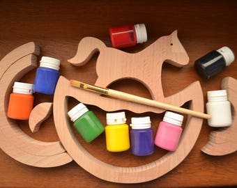 DIY project - Stacking horse toy - Wooden nesting toy - Animal toy - Wooden puzzle rainbow - Rainbow stacker - Montessori toy - Waldorf toy