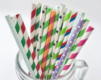 Assorted Mix Paper Straw Pack - pack of 25