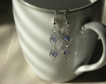 Diamond Lilac Swarovski Crystal Drop Earrings