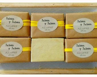 SULFUR SOAP, 60% Virgin olive oil, natural SOAP, handmade soap, vegan, savon au soufre