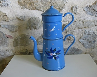 "Huge French blue enamel coffee pot ""biggin"" with hand painted flowers"