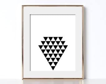 Arrow Shape Print Digital Download Printable Art Triangle Art Geometric Design Print Doctors Office Decor Abstract Wall Art Black and White