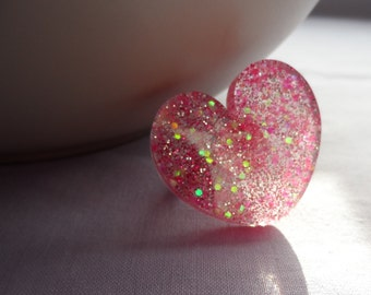 Pink love heart resin ring adjustable size. Valentines day, glitter, statement.
