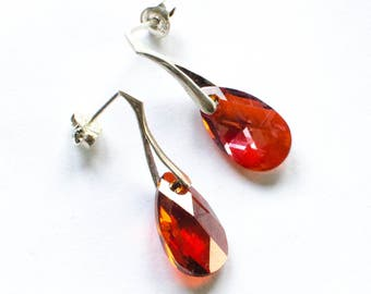 Silver earrings, Silver earrings, Swarovski elements, Sterling Silver 925 Red