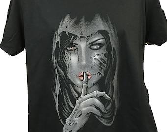 Hooded Gothic Girl  Black Cotton T shirt New Womans Men's Unisex