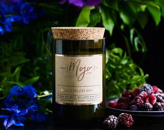 Violet & Frosted Berries - Reclaimed Wine Bottle Soy Candle - Hand Poured