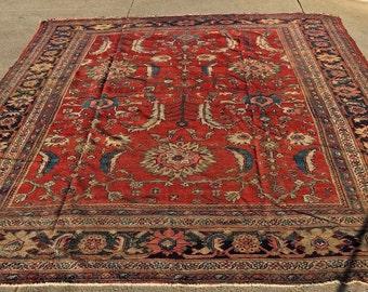 """Antique 1910's Persian Mahal Rug 8'4"""" x10'5"""""""