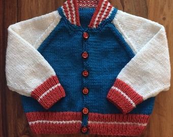 Hand Knitted Baby Boy Baseball Style Cardigan