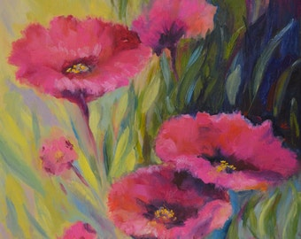 Original Oil Painting Poppies Art Nature Wall Living Room Home Decor Unique Gift for Mom Friend