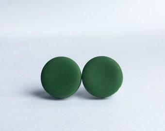 Dark Green Large Stud Earrings, Handmade Green Earrings, Minimalist Earring, Everyday Studs, Simple Studs, Green Studs, Polymer Clay Studs