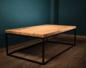 Helene - solid wood coffee table oak steel frame