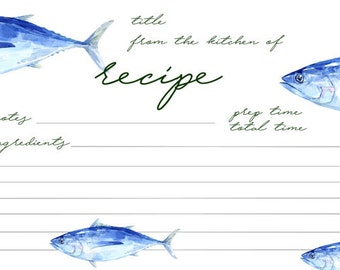 Printable Recipe Cards | Fish