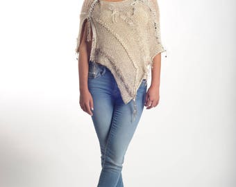Women ponchos , crochet poncho , shawl ponchos cape, wool poncho,