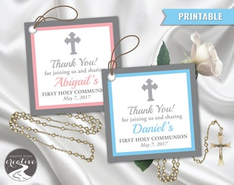 PRINTABLE Personalized Thank You First Communion Label Tag, First Holy Communion Thank You, Boy, Girl, Verse, Border Pink Blue, Digital File