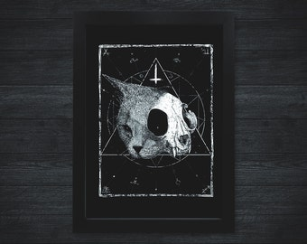 Cat Skull A4 Print