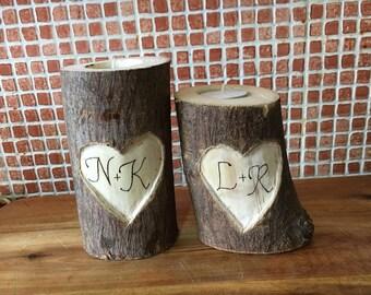 Personalised Rustic log tea light candle holder