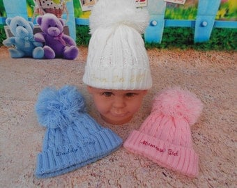 Personalised soft baby knitted pom pom hats